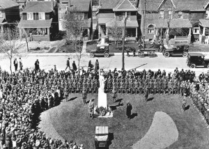 May 19, 1922   WW1 memorial in front of Malvern Avenue Collegiate, unveiled by the Premier of Ontario Mr. G.S. Henry