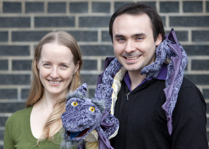 Helen and Tyler with one of their most popular puppets, Derek the Dragon. They were hired by the Gardiner Museum to support its Sunday Family Programs.  The inspiration for Derek was the many dragon motifs on exhibits in the museum. PHOTO: Phil Lameira / Beach Metro News