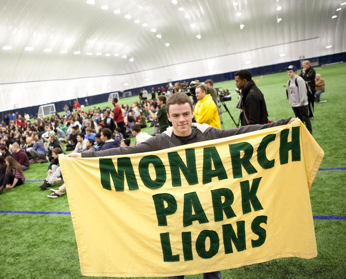 Monarch Park student Sean Pitre shows off some school pride. Students gathered at the brand new stadium at Monarch Park CI for its grand opening on Dec. 5. PHOTO: Phil Lameira / Beach Metro News