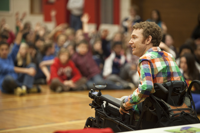 Luke Anderson speaks to students at Bowmore PS about the challenges of accessibility faced by people in wheelchairs. PHOTO: Mike Pochwat