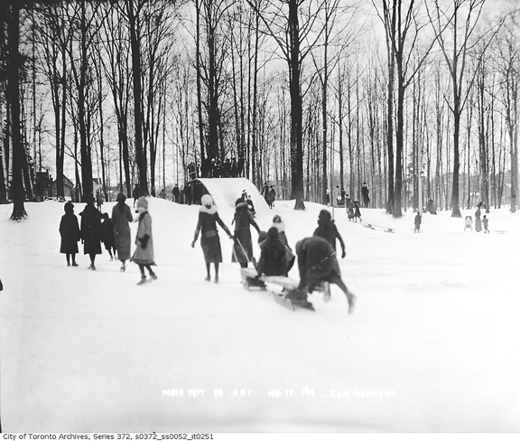 This archival photo shows winter sports activites in Kew Gardens in 1914. PHOTO: Toronto Archives, Fonds 200, Series 372, Subseries 52, Item 251