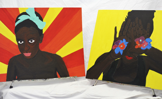 'A dat wid you sistren' and 'Binghi Dawta Girl', paintings  that Grade 12 Malvern student Lillian O'Brien Davis showed in her installation 'Back to Black' at Malvern's end-of-year art show.