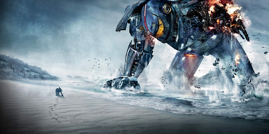 Lake Ontario and Toronto stood in for the Pacific Ocean and many locations around the world in Pacific Rim, above. When nature didn't provide snow on set, below, the crew simply made their own on the beach at Bluffer's Park.