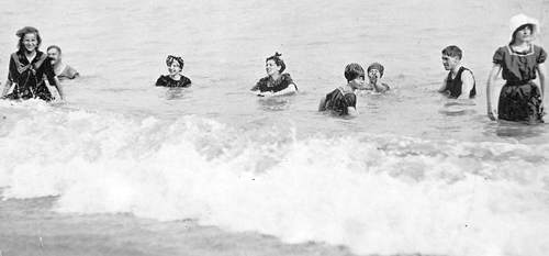 These bathers at Kew Beach were likely photographed in 1908, in the era of heroes such as Robert 'Bob' Berry, who risked his own life to save swimmers and boaters who found themselves facing the rough side of Lake Ontario. PHOTO: City of Toronto Archives, Fond 1244 Item 15
