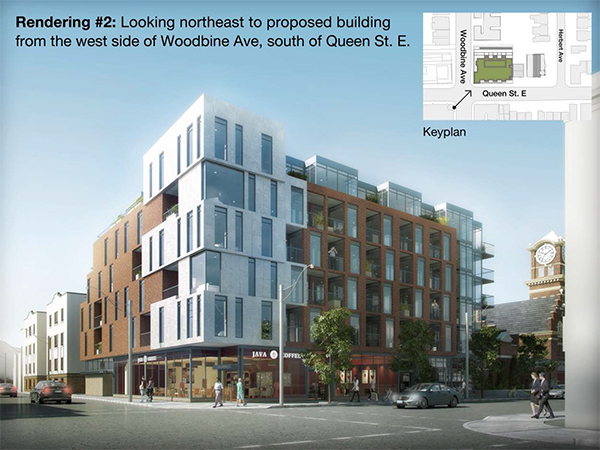 A rendering of the six-storey condo planned for Queen St. East and Woodbine Avenue. IMAGE: RAW Design