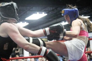 Robin MacMillan, right, spars in a recent friendly match in Toronto. PHOTO: Submitted