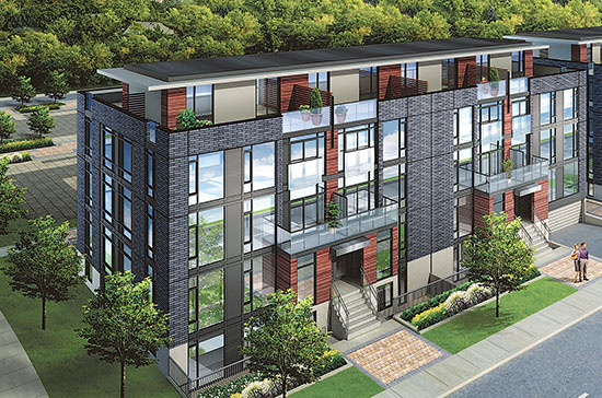 An artist's rendering shows Centreville Homes' Wallace Walk townhouses project in the Junction neighbourhood. While the Clonmore and Queensbury proposal is in early stages, the townhouses are expected to have a similarly urban look and three-and-a-half storey design. Image courtesy Centreville Homes