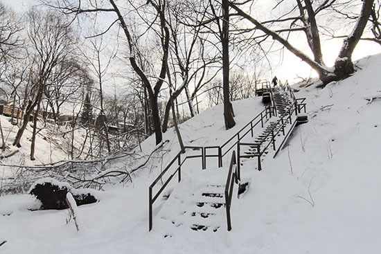 The City of Toronto's Parks department is planning an east-side staircase to match this one on the west side of Williamson Park Ravine. The plan also includes a bridge over Small's Creek between the two staircases. PHOTO: Andrew Hudson