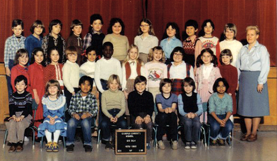 Corinne Vince, right, poses with her Grade 3 and 4 class of 1979-1980. Before Vince retired from Corpus Christi, in 1992, she was the second-longest serving teacher in the Catholic school board, as well as a Corpus Christi alumni. PHOTO courtesy of the Corpus Christi Catholic School Facebook group