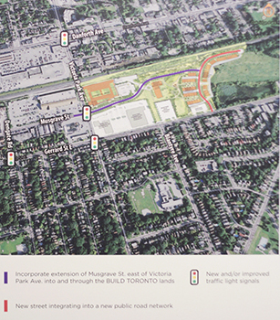 A Build Toronto chart at a March 18 meeting shows the traffic plan for the city-owned corporation's upcoming development on the western side of the old quarry lands at Victoria Park Avenue and Gerrard Street East. The plan includes an eastward extension of Musgrave Street, a new residential street in the development, and changes to nearby traffic lights. IMAGE: Build Toronto
