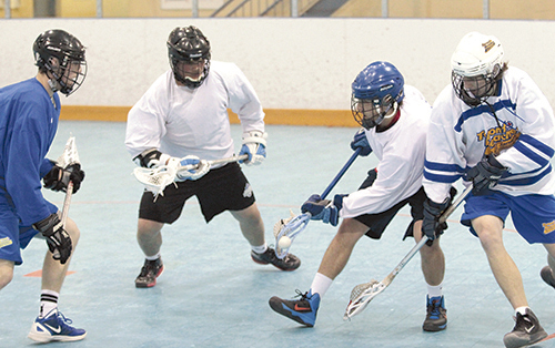 The Toronto Beaches run two-on-two drills during a pre-season practice on April 23. The Junior A lacrosse team's first home game is on May 8 at Ted Reeve Arena against the Six Nations Arrows. PHOTO: Andrew Hudson
