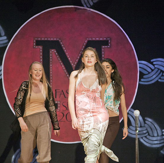 Avery Johnstone, 17, strides down the catwalk. It was a full house on April 24 at the Malvern Collegiate's auditorium. Malvern hosted its annual fashion show, À La Mode, which raises funds for Princess Margaret Hospital's Wig Salon and Accessories Boutique. PHOTO: Phil Lameira
