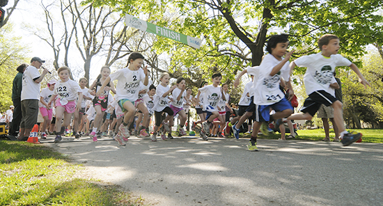 Young runners in the 1 km race take off from the start line at Joggin' for the Noggin. More than 300 runners came out for the inaugural event. PHOTO: Jon Muldoon