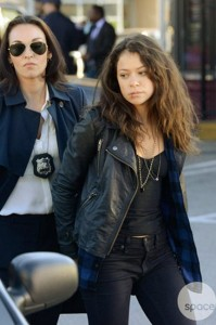 Beach resident Inga Cadranel, left, and Tatiana Maslany on the Danforth in a scene from Orphan Black.