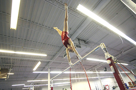 Megan Roberts trains on the uneven bars at the East York Gymnastics Club. PHOTO: Andrew Hudson