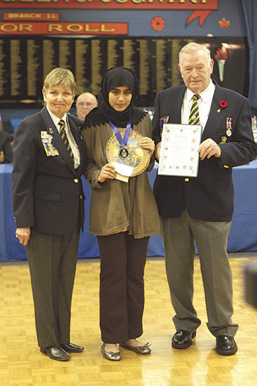 Zara Ahmad wins public speaking award from  Legion branch 11_20140604_IMG_3657