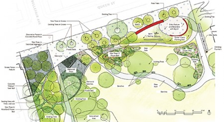 Twenty-nine new trees and one or two paths leading past relocated flower beds are part of the plans for the front portion of Kew Gardens. Image courtesy Plant Architect Inc.