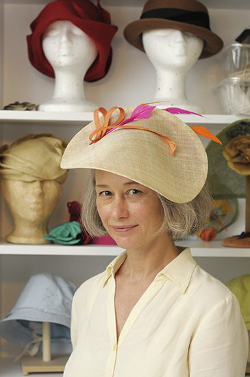 Milliner Ann Livingston models the custom hat she entered in a millinery competition at the Queen's Plate this summer. Her creation earned her first place honours and a cash prize at the inaugural contest. PHOTO: Jon Muldoon