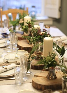 Repurposed wood, and individualized floral arrangements can add variety and interest to holiday place settings at a dinner party. PHOTO: NanneSpringer.com