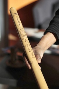 Ritesh Das holds a taiko drumming stick signed by Gary Kiyoshi Nagata, leader of Nagata Shachu drum group, with whom Das' Toronto Tabla Ensemble did their first major collaboration, in 1992. The two groups plan to collaborate again later this spring.