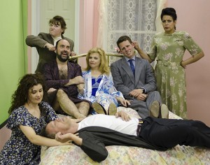 Scarborough Players will perform the British bedroom farce Key For Two in July. Back, from left, are Jean Ireton, playing Anne; David Borwick, playing Alec; Carolyn Tutchener, playing Harriet; Ryan Wilson, playing Gordon; and Erin Jones, playing Magda. Front, from left, are Meg Gibson, playing Mildred; and Scott Simpson, playing Richard. PHOTO: Thomas Kowal
