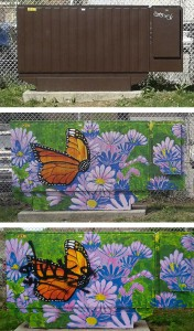 A Bell utility box painted by students at Earl Haig Public School is shown before, left, after a mural was painted, centre, and post-vandalism, far right. PHOTOS: Submitted