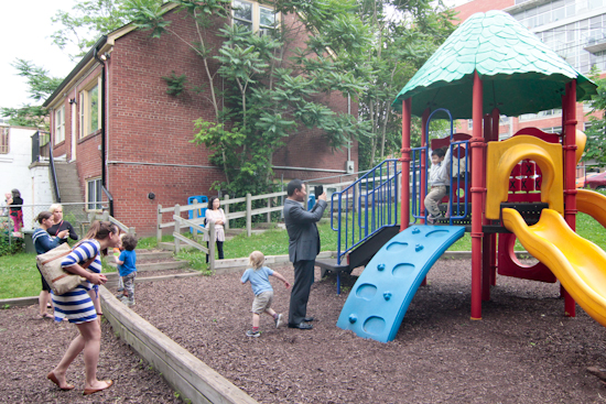 Children enjoy the playground at Beaches Child Care, which backs onto a ravine, after the non-profit day care's annual general meeting and family picnic. PHOTO: Andrew Hudson