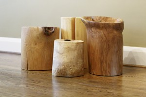 Handmade stump stools created by Christine Roberts. PHOTO: Nanne Springer