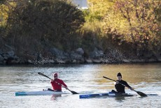 Balmy Beach kayakers Conrad Hopp, left, and Eric Ellery train at Ashbridges Bay on Oct. 23. This year, the Balmy Beach Canoe Club won more medals than any other competing at the national Canoe/Kayak championships in Ottawa. PHOTO: Andrew Hudson