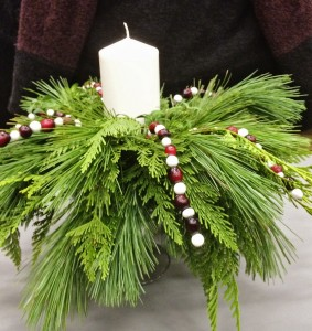 Cranberries and beads strung on wires add colour to this easy design. PHOTO: Mary Fran McQuade