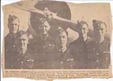 This newspaper clipping from the author's mother's personal collection shows Malvern student Ken Tutton's graduating class at the Service Flying Training School No. 16, in Hagersville, Ontario. Tutton is second from right. Below right, the 1943 Toronto Star notice of Tutton's death notice.