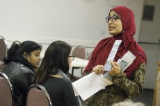 Upwards of 100 people turned out on a rainy Sunday for Beaches-East York MP Nathaniel Erksine-Smith's town hall on Syrian refugees January 10 at the Branch 11 legion. Attendees heard from a number of local groups, like Farzana Yusuf from the East End Community Health Centre, on the programs in place to support refugees.