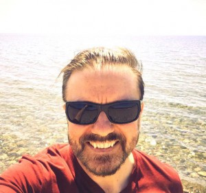 Ricky Gervais at the beach – yes, our beach – in May 2015.