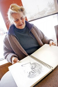 Bev Campbell can often be found at various Beach Tim Hortons, sketching or selling her artwork.