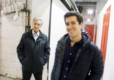 Peter and David Segal, father and son, inside the halls of their family business, Migson Storage.