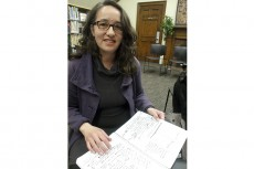Susana Molinolo, the winner of the 506 streetcar writing contest, at the Gerrard Ashdale library March 31.
