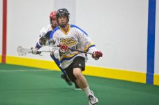 Mike Berger of the Toronto Beaches Jr. A Lacrosse team during a pre-season practice on April 20.