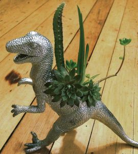 This T. Rex sprouts a cluster of succulents on its back. PHOTO: Jen Leis