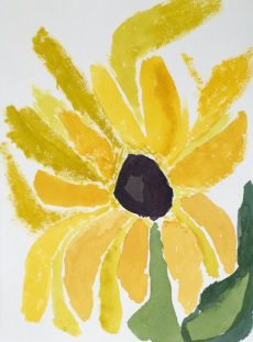 Painting  below of Yellow Flower Done by a student in my Special Needs Painting class. These students have done amazing paintings with the Shape Painting Method with no drawing. Painting on display at my annual Studio Show. STUDENTS WORK BELOW