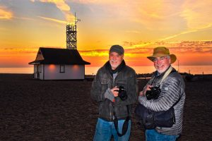 Erwin Buck and David Cooper get ready to shoot the first sunrise of the day. PHOTO: Dick Loek