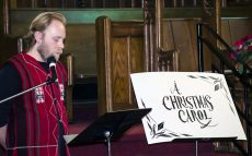 """Keith Williams provides his rendition of """"A Christmas Carol"""" at the Kingston Road United Church, December 10."""